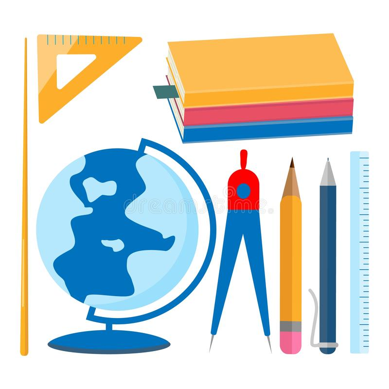 fontes de escola ajustadas Livros de texto, globo, ponteiro, compasso, pena, lápis, régua ilustração do vetor