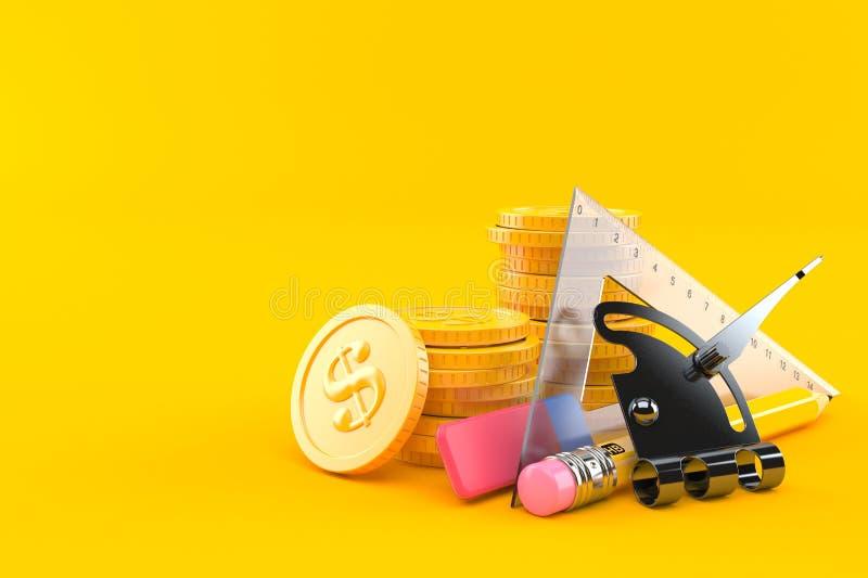Fontes de escola com a pilha de moedas ilustração do vetor