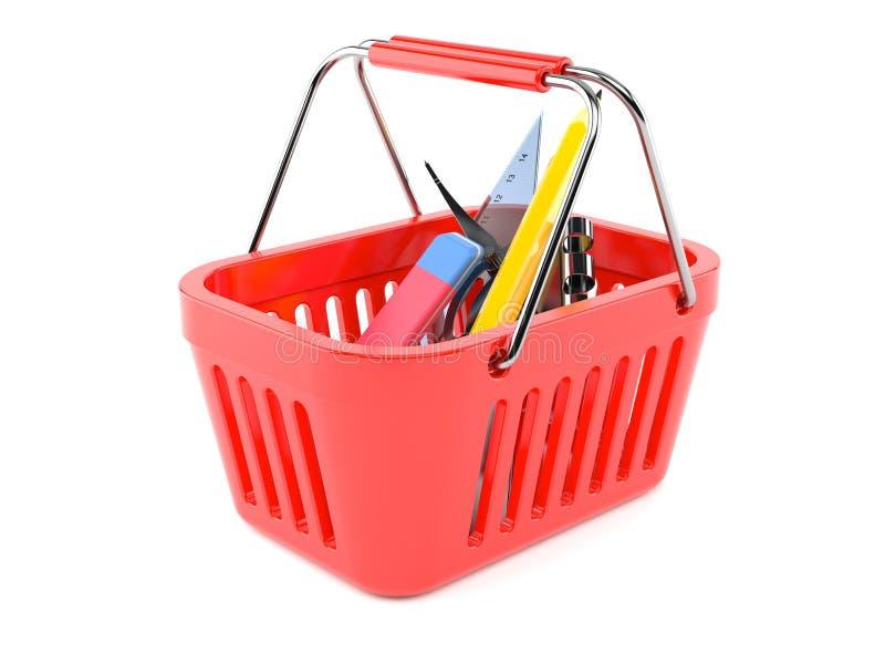 Fontes de escola dentro do cesto de compras ilustração stock