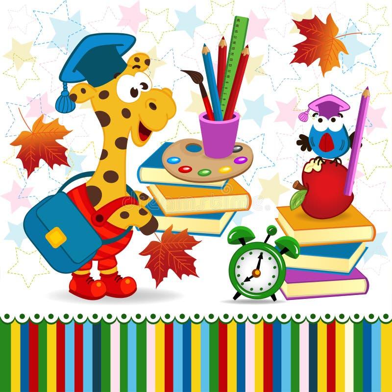 Fontes de escola do pássaro do girafa ilustração royalty free