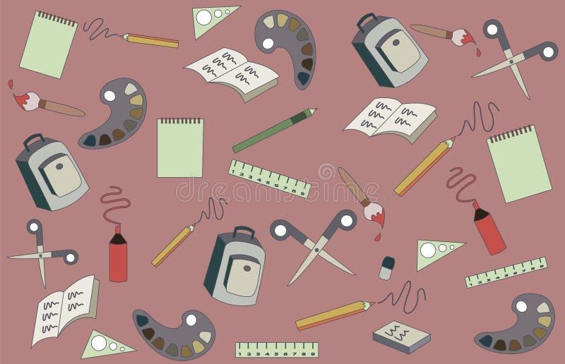 Fontes de escola em um fundo cor-de-rosa Chancelaria e estudos ilustração stock