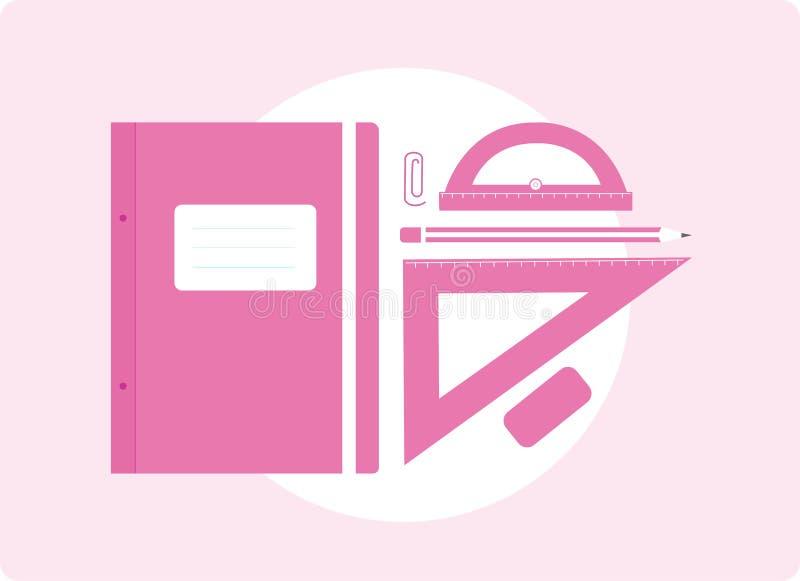 Fontes de escola no rosa ilustração royalty free