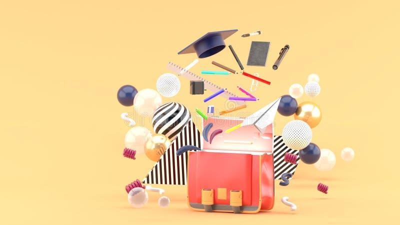Fontes de escola que flutuam fora de um saco de escola entre bolas coloridas em um fundo alaranjado imagem de stock