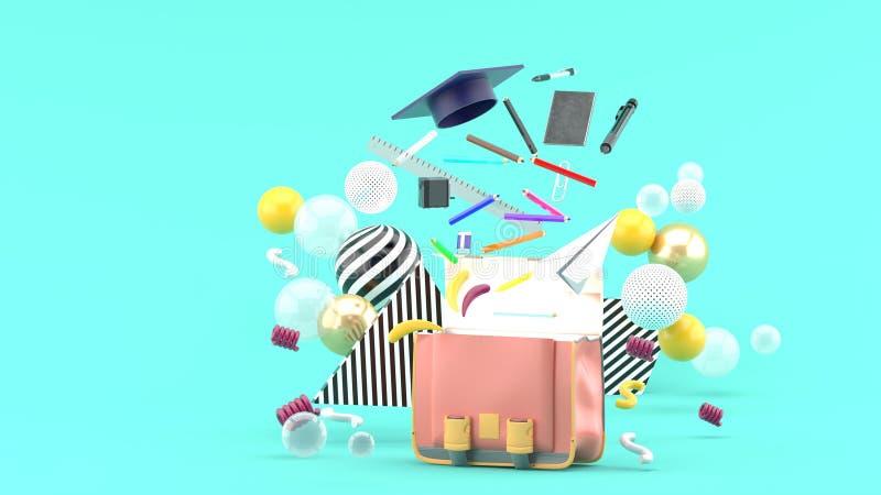 Fontes de escola que flutuam fora de um saco de escola entre bolas coloridas em um fundo azul fotos de stock royalty free
