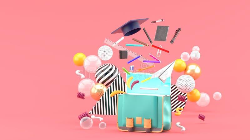 Fontes de escola que flutuam fora de um saco de escola entre bolas coloridas em um fundo cor-de-rosa foto de stock