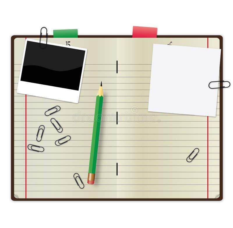Fontes de escritório no backgound branco ilustração stock