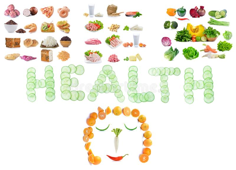 Fontes do alimento de hidratos de carbono complexos, proteína, isolado dos vegetais foto de stock
