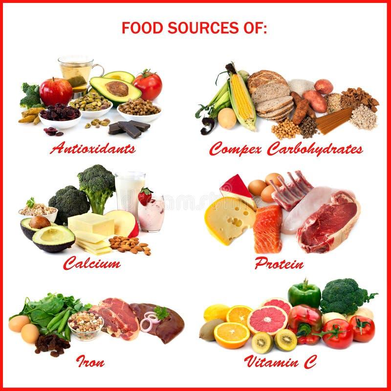 Fontes do alimento de nutrientes imagem de stock royalty free