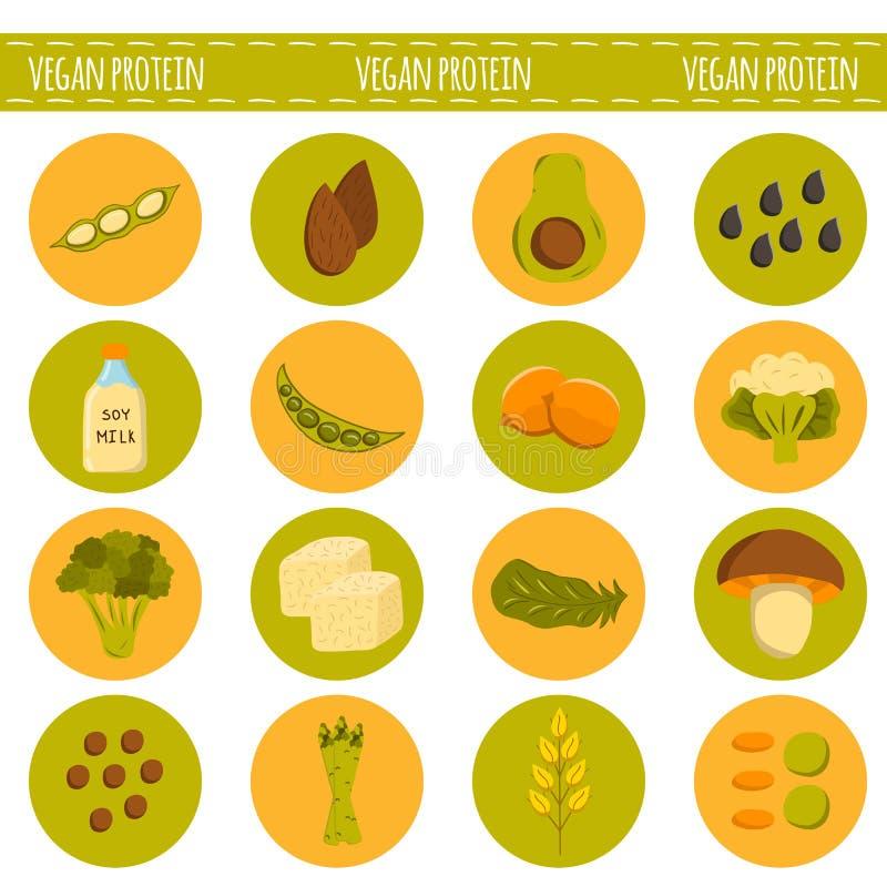 Fontes do vegetariano dos desenhos animados do vetor de proteína ilustração do vetor