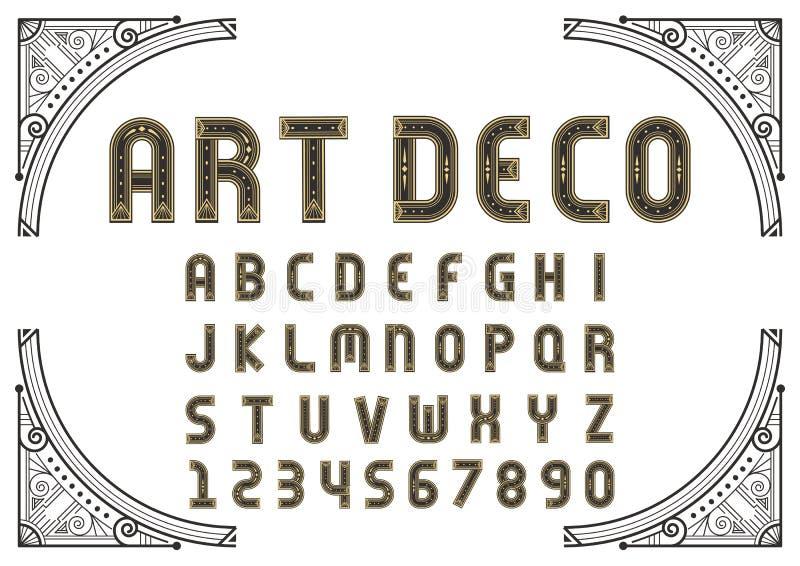 Fontes e números criativos de Art Deco ilustração royalty free