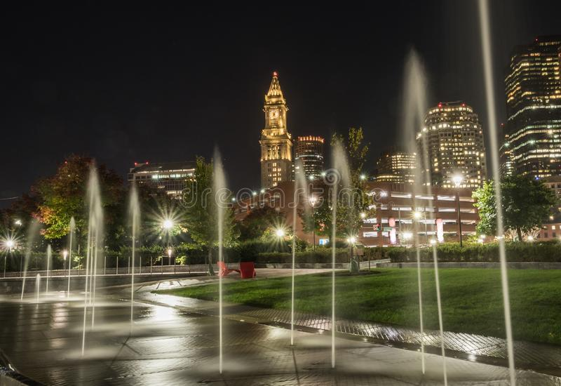 Fontes e skyline de Boston fotografia de stock