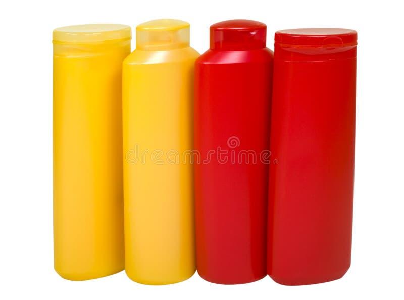 Fontes higiênicas em uns frascos coloridos fotos de stock royalty free