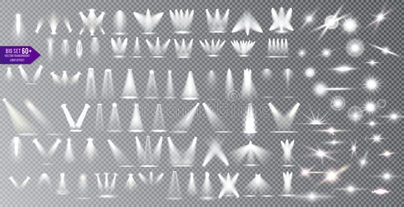 Fontes luminosas coleção, iluminação do concerto, efeito do alargamento da lente dos projetores do feixe da fase e estrela brilha ilustração do vetor