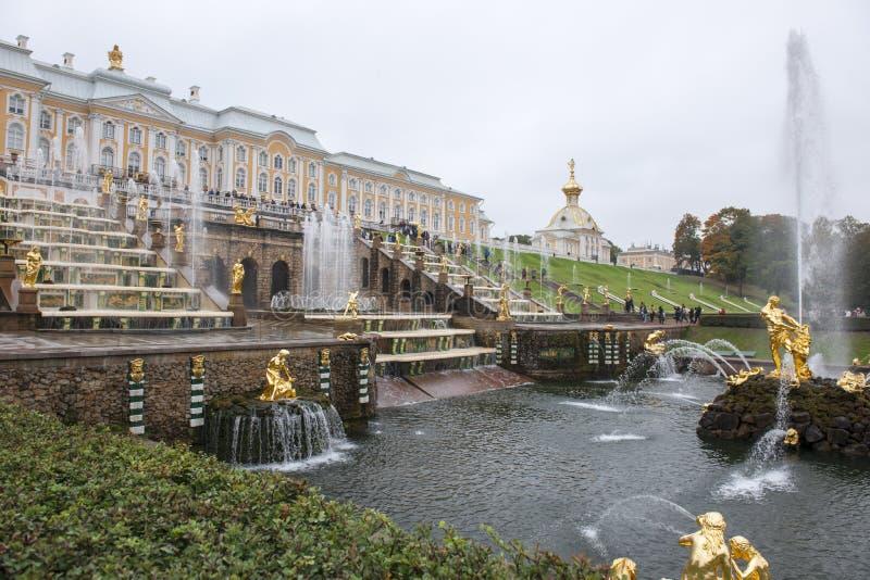 Fontes no palácio de Peterhof, St Petersburg fotos de stock royalty free