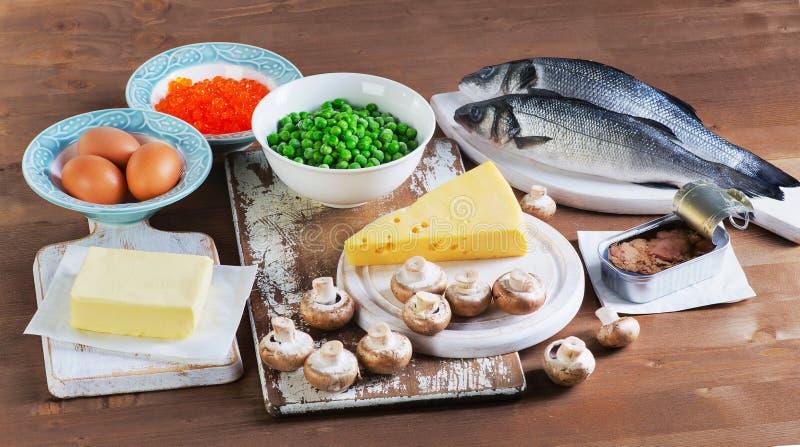 Fontes saudáveis do alimento da vitamina D imagem de stock