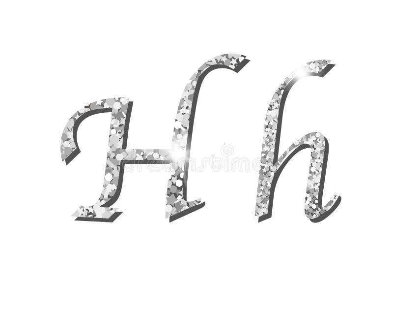 Fontes tipográficas luxuosas de prata Shinning do alfabeto ilustração royalty free