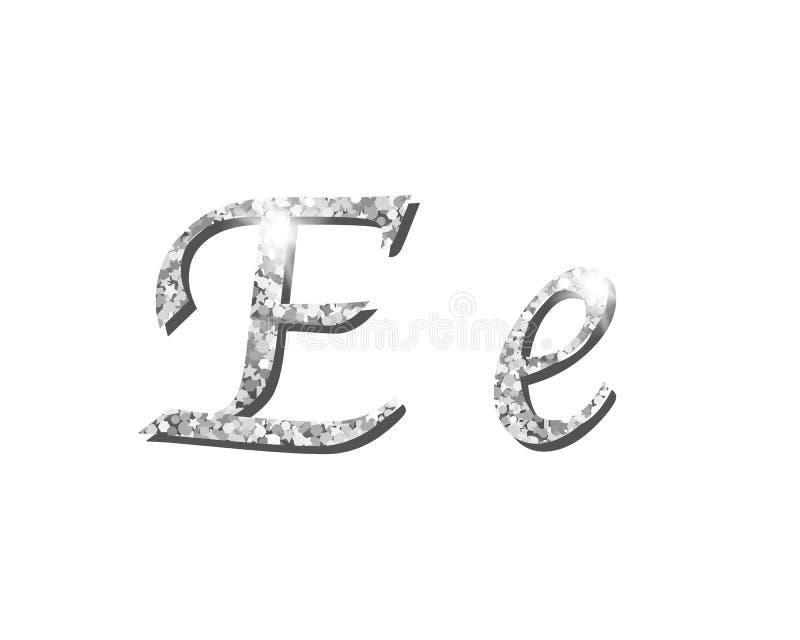 Fontes tipográficas luxuosas de prata Shinning do alfabeto ilustração do vetor