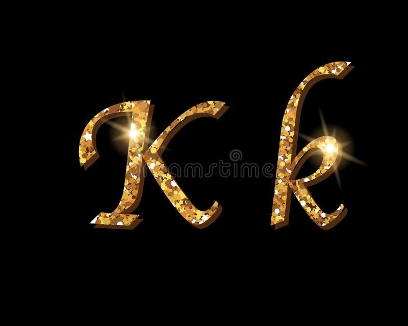 Fontes tipográficas luxuosas douradas Shinning do alfabeto ilustração royalty free