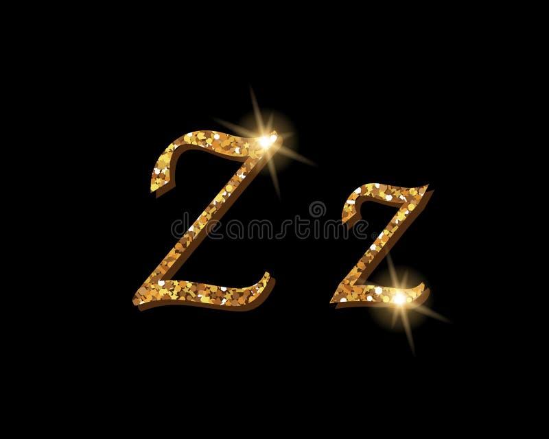 Fontes tipográficas luxuosas douradas Shinning do alfabeto ilustração stock