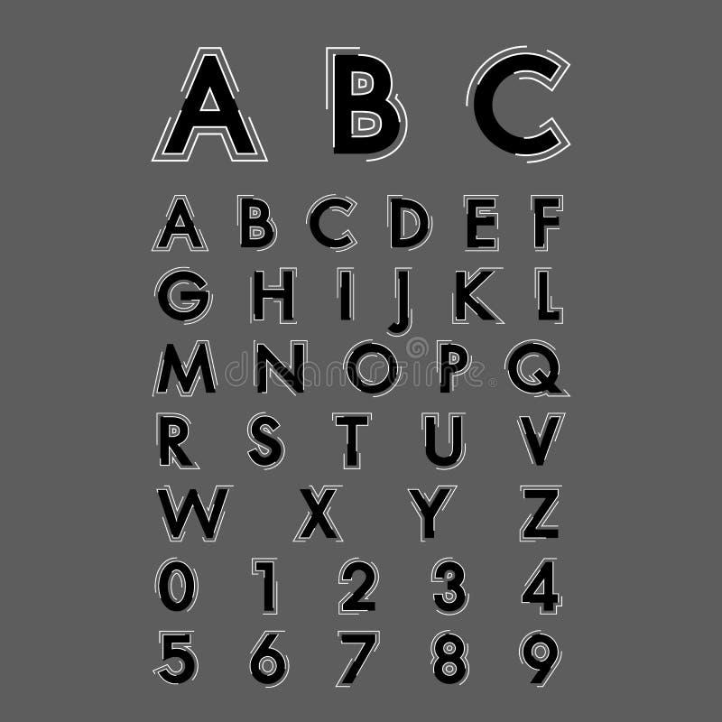 Download Fonti alfabetiche e numeri illustrazione vettoriale. Illustrazione di estratto - 55360216