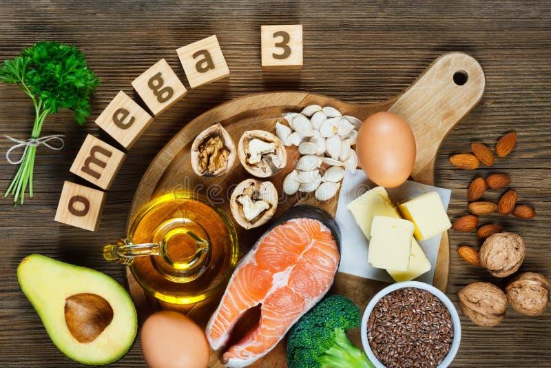 Fonti animali e di verdure di omega-3 fotografia stock