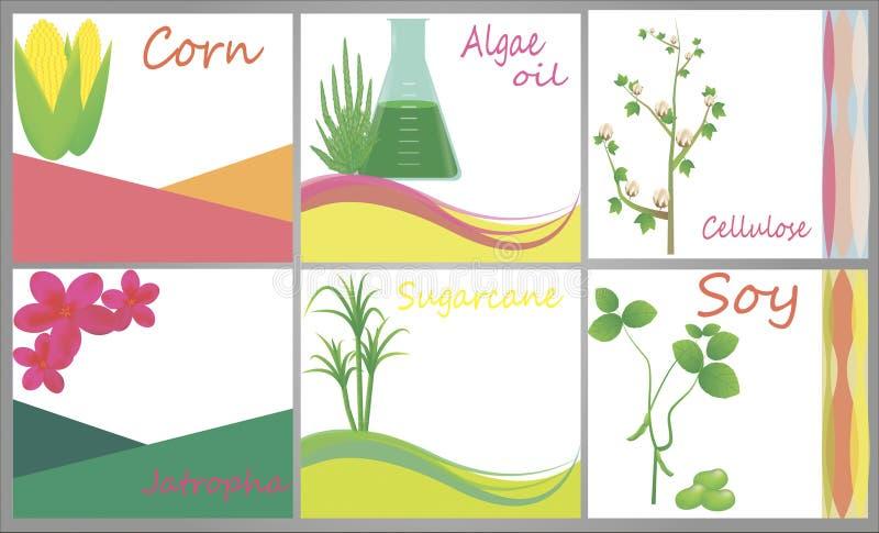 Fonti del combustibile biologico illustrazione vettoriale