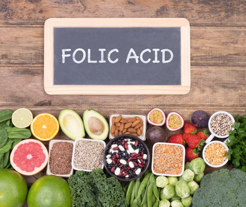 Fonti dell'alimento dell'acido folico, vista superiore fotografia stock