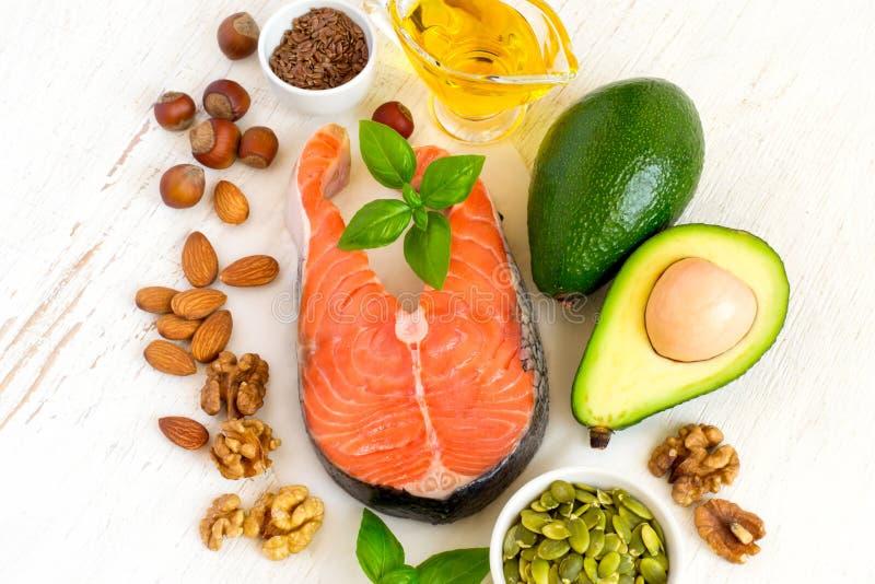 Fonti dell'alimento di selezione di Omega 3 e di grassi sani Spirito di vista superiore fotografia stock