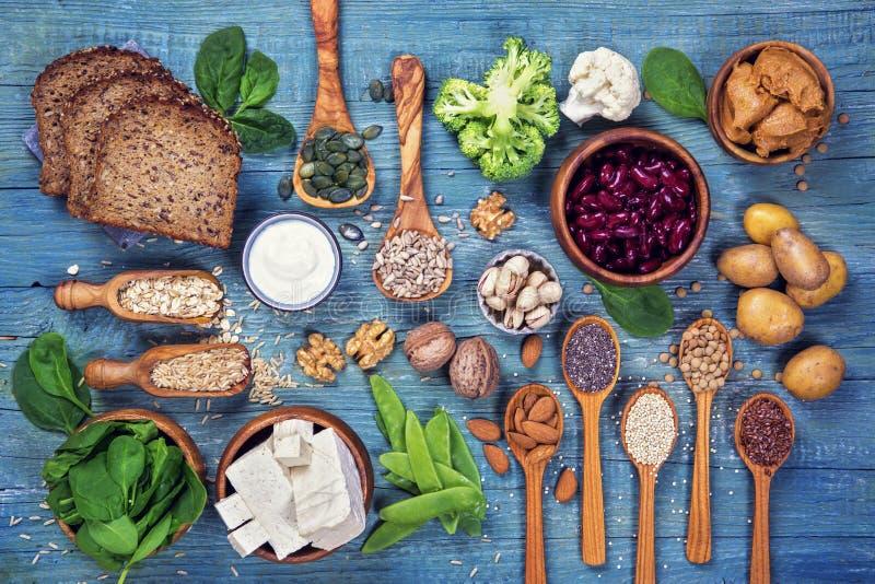 Fonti della proteina del vegano fotografia stock libera da diritti