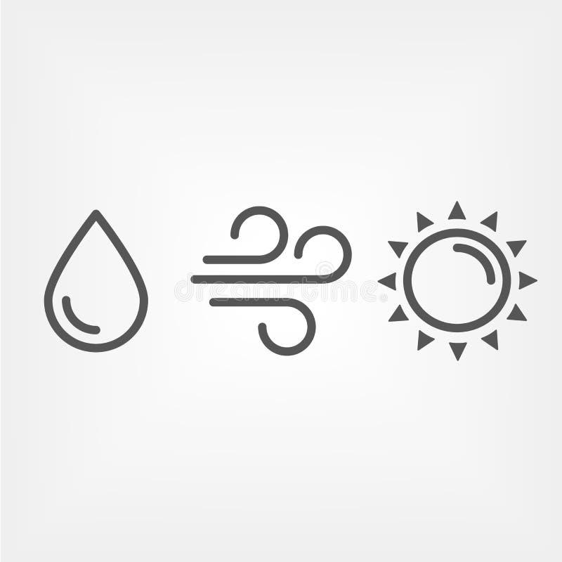 Fonti di energia rinnovabili: icone di vettore del profilo del sole, del vento e dell'acqua illustrazione di stock