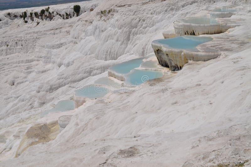 Fonti geotermiche di Pamukkale in Turchia sotto il nome della fortezza del cotone immagini stock
