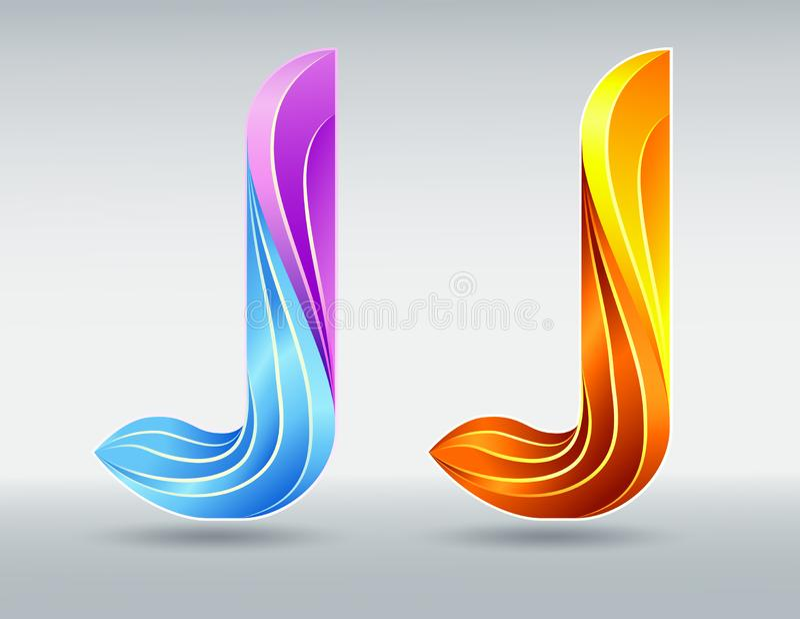 fonts Διανυσματικό γράμμα J Δημιουργική στριμμένη τρισδιάστατη πηγή Ζωηρόχρωμα χρώματα καραμέλας και υπεριώδους ακτίνας ελεύθερη απεικόνιση δικαιώματος