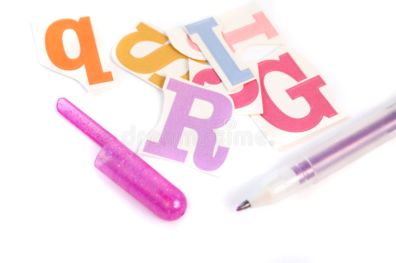 Download Fonts stock photo. Image of pink, alphabet, marker, colorful - 5251580
