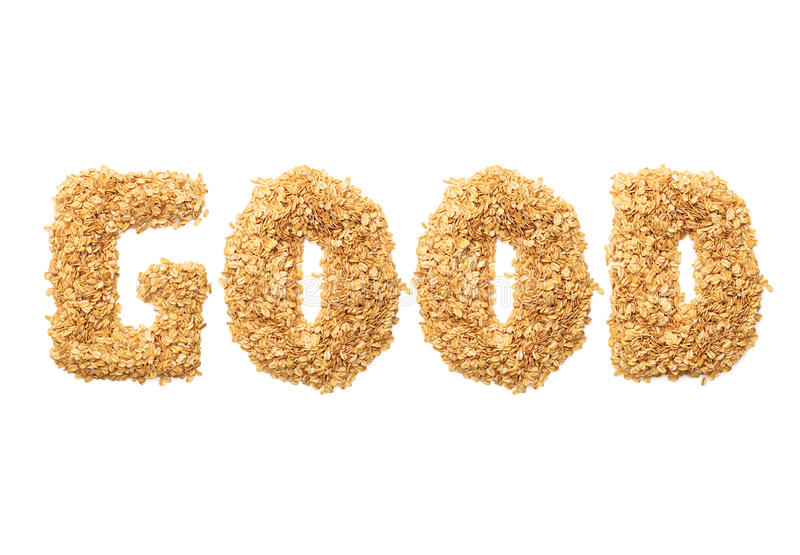 Fonts with oat grains word. stock image