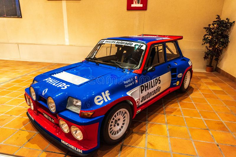 FONTVIEILLE, MONACO - JUN 2017: blue RENAULT MAXI 5 TURBO 1985 in Monaco Top Cars Collection Museum.  stock photo