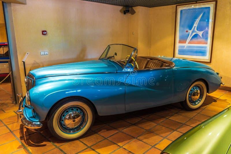 FONTVIEILLE, MONACO - JUN 2017: blue SUNBEAM ALPINE CABRIO 1954 in Monaco Top Cars Collection Museum stock photography