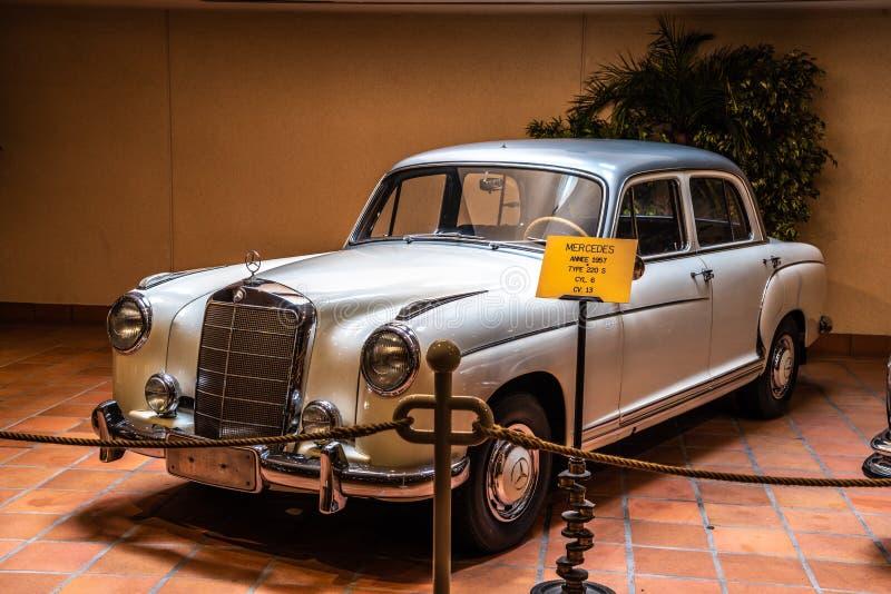 FONTVIEILLE, MONACO - JUN 2017: silver MERCEDES 220 S 1957 in Monaco Top Cars Collection Museum.  stock photo