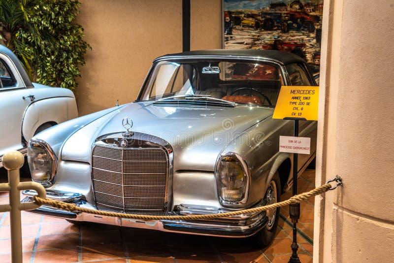 FONTVIEILLE, MONACO - JUN 2017: silver MERCEDES 220 SE 1963 in Monaco Top Cars Collection Museum.  royalty free stock photo