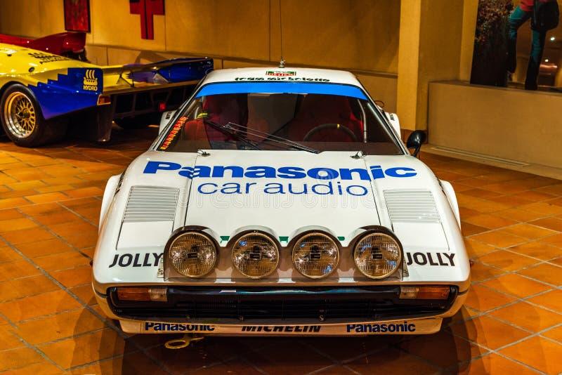 FONTVIEILLE, MONACO - JUN 2017: white FERRARI 308 GROUPE 4 1976. In Monaco Top Cars Collection Museum stock images