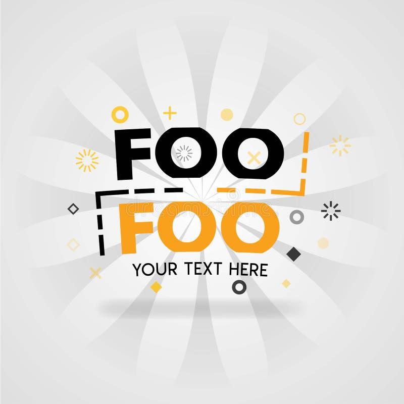 Foo Foo που τρώει ένα λογότυπο με τον ανιχνευτή συνταγής και τις επιλογές τροφίμων εστιατορίων απεικόνιση αποθεμάτων