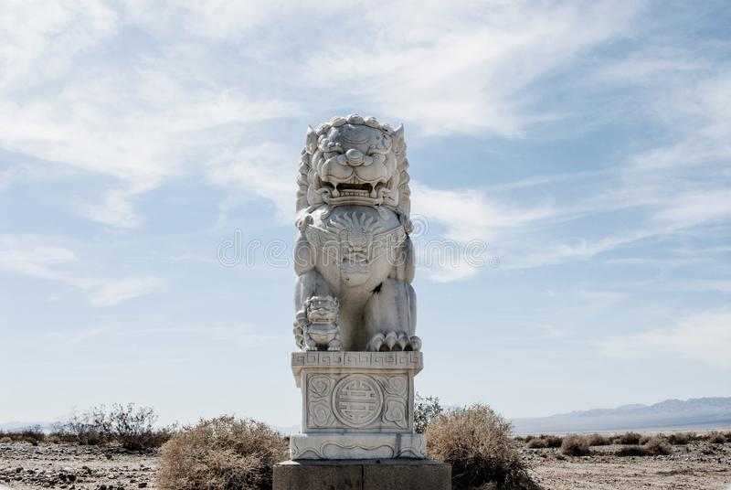 Foo Dog In The Mojave Desert stock images