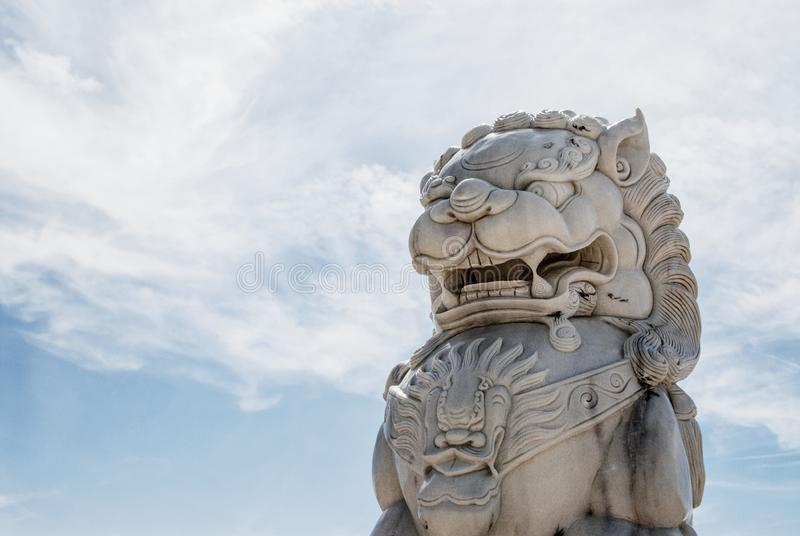 Foo Dog In The Mojave Desert sky stock photo