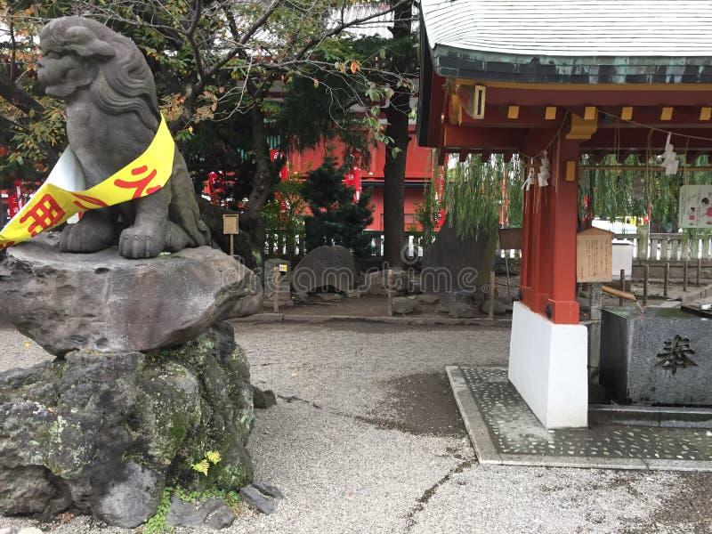 Foo pies przy Sintoizm świątynią obraz stock