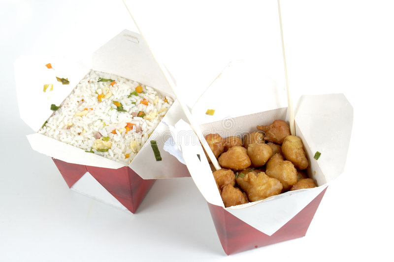 Food. Chinese delivery food - chicken and rice royalty free stock images
