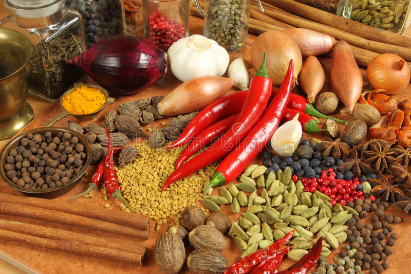 Food. Spices and herbs choice. Aromatic ingredients and natural food additives. Cuisine elements stock photo