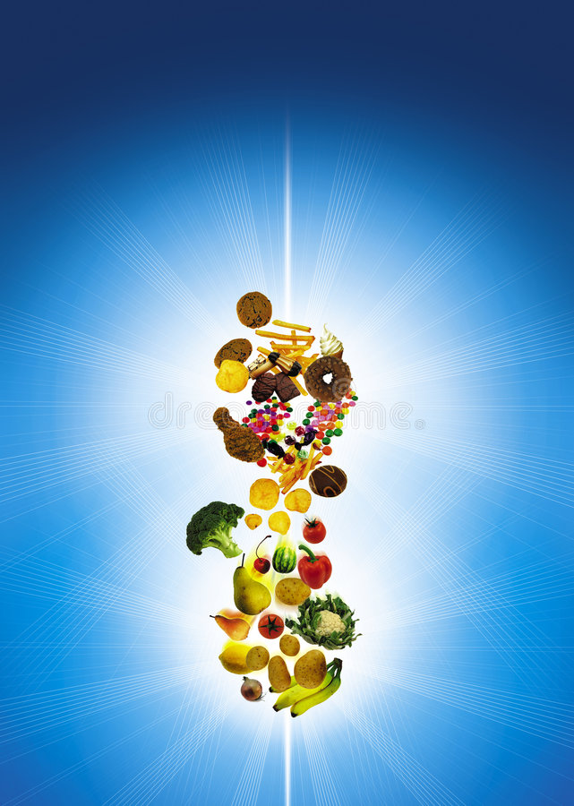 Food. Photo of unhealthy and healthy food stock illustration