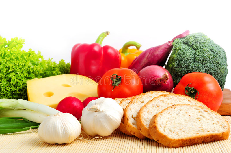 Food. Assorted healthy food on white background, close up stock photography