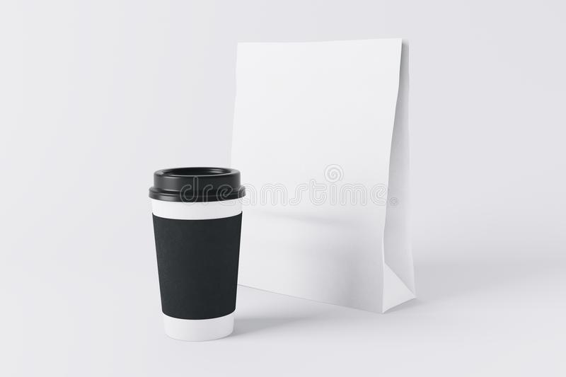 Food ad concept. White paper lunch bag and coffee cup on light background. Food ad concept. Mock up, 3D Rendering royalty free illustration