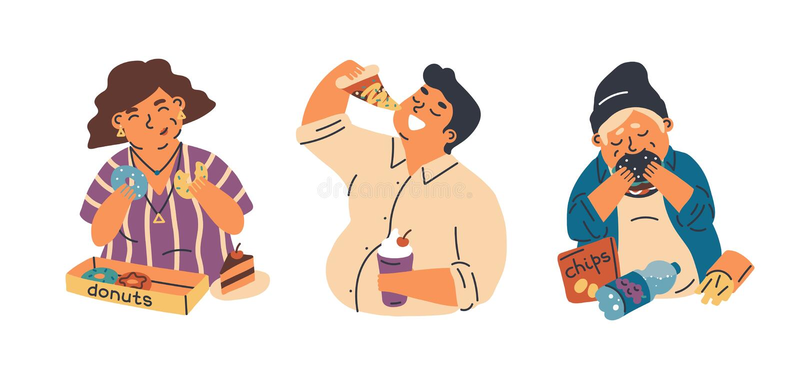 Food addiction flat vector illustrations set. Unhealthy lifestyle, harmful nutrition, obesity problem concept. Overweight woman, man and teenager eating junk vector illustration