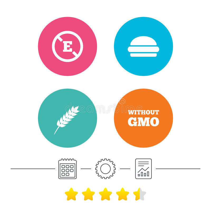 Food additive icon. Hamburger fast food sign. Gluten free and No GMO symbols. Without E acid stabilizers. Calendar, cogwheel and report linear icons. Star vote royalty free illustration